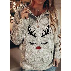 Animal Print Pockets Long Sleeves Christmas Sweatshirt