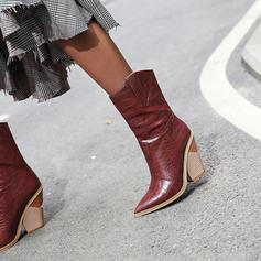 Pentru Femei PU Toc gros Cizme Cizme până la jumătatea gambei pantofi