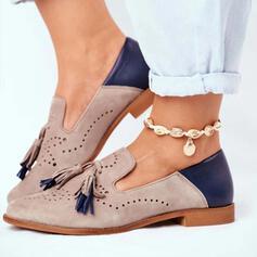 婦人向け PU フラットヒール フラッツ とともに タッセル スプライスカラー 靴