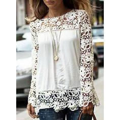 Jednobarevný Krajka Kulatý Výstřih Dlouhé rukávy Neformální Elegant Bluze