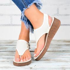 Frauen PU Flascher Absatz Sandalen Pantoffel Schuhe