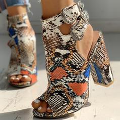 Bayanlar PU Tıknaz Topuk Sandalet Pompalar Peep Toe topuk Ile Toka Hayvan baskı ayakkabı