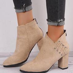 Donna Camoscio Tacco spesso Stivali alla caviglia Tacchi Punta a punta con Cerniera Colore solido scarpe