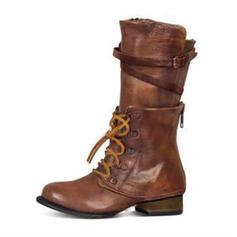 Kvinner PU Flat Hæl Flate sko Lukket Tå Støvler Mid Leggen Støvler med Blondér sko