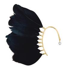 Único Aleación con Pluma Perlas de imitación De mujer Pendientes (Sold in a single piece)
