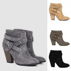 Kvinner PU Stor Hæl Støvler med Spenne sko