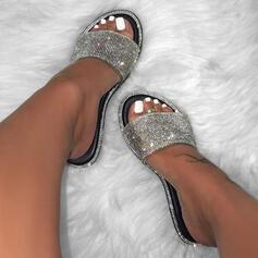 Femmes PVC Talon plat Chaussons avec Strass Paillette chaussures