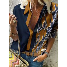 Print Color Block Lapel Long Sleeves Casual Shirt Blouses