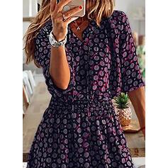 Print 3/4 Sleeves A-line Above Knee Casual/Elegant Dresses