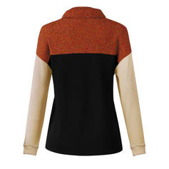 Barevný blok Výstřih ke krku Dlouhé rukávy Neformální Bluze