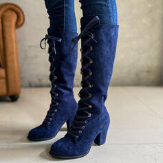 Női Szarvasbőr Chunky sarok Térdig érő csizmák Kerek lábujj -Val Lace-up Szolid szín cipő