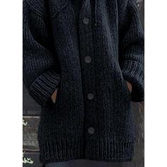 Jednobarevné Hrubá pletenina Buzunar S kapucí Neformální Kardigan
