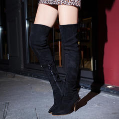 De mujer Ante Tacón stilettos Salón Botas Botas sobre la rodilla con Cremallera zapatos