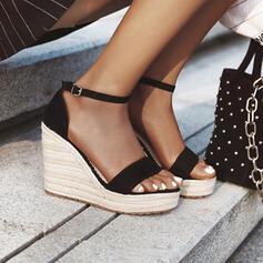 Сандалии Насосы Платформа клинья Peep Toe Каблуки с пряжка Сплошной цвет обувь