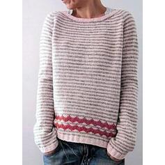Cu Dungi Bucată tricotată Guler Rotund Comod Kazaklar