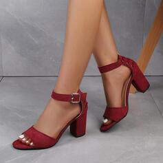 замша Толстый каблук Сандалии Насосы Peep Toe Каблуки с пряжка Выдолбить обувь