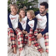 Bear Pläd Tecknad Matchande familj Jul Pyjamas Pyjamas