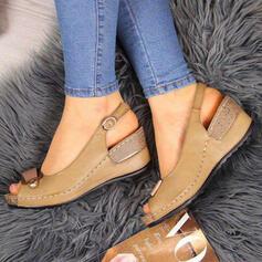 PU Kilklack Sandaler Kilar Peep Toe Klackar med Spänne skor