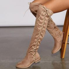 Női Szarvasbőr Alacsony sarok Csizma -Val ruched Lace-up Szolid szín cipő