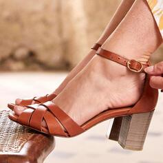 Bayanlar PU Tıknaz Topuk Sandalet Pompalar topuk Ile Toka ayakkabı