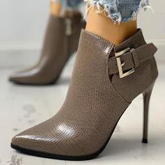 De mujer PU Tacón stilettos Dedo del pie puntiagudo Martin botas con Hebilla Color sólido zapatos