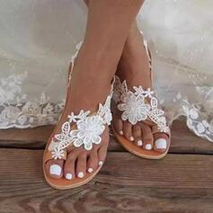 Плоский каблук Сандалии Квартиры Кольцо пальца ноги с Цветок Сплошной цвет обувь