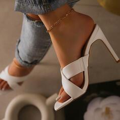 Сандалии Насосы Peep Toe Квадратный носок Каблуки с Выдолбить Сплошной цвет обувь