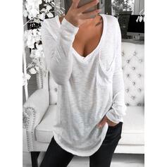 Solid V-hals Lange ermer Casual Basic T-skjorter