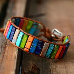 Farverig Boho Natural Stone Flettet Rope Kvinder Armbånd