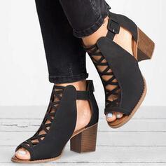 Femmes Tissu Talon bottier Bottines avec Boucle Ouvertes chaussures