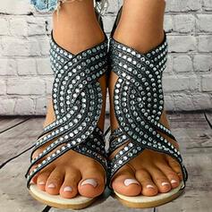 Bayanlar PU Düşük Topuk Sandalet Flats Peep Toe Ile Yapay elmas Fermuar Oymak ayakkabı