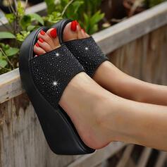 Dla kobiet PU Obcas Koturnowy Sandały Platforma Koturny Otwarty Nosek Buta Kapcie Obcasy Z Tkanina Wypalana Kropka obuwie