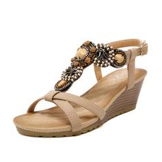 Mulheres Couro Plataforma Sandálias Calços Peep toe Sapatos abertos com Strass sapatos