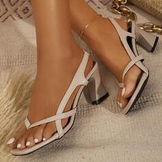 De mujer PU Tacón ancho Sandalias Solo correa Chancletas Top bajo con Color sólido zapatos