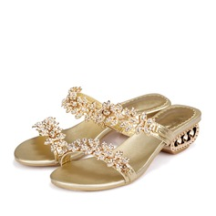 Real Leather Low Heel Sandals MaryJane Beach Wedding Shoes With Rhinestone