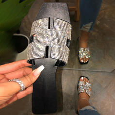 Donna PU Senza tacco Punta aperta Ciabatte con Strass scarpe
