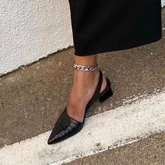 Женский PU Толстый каблук Острый нос с Рисунок животного обувь