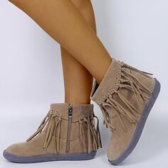 Vrouwen Kunstleer Flat Heel Enkel Laarzen Ronde neus met Tassel schoenen
