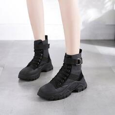 Mulheres Couro verdadeiro Plataforma Calços Botas com Aplicação de renda sapatos