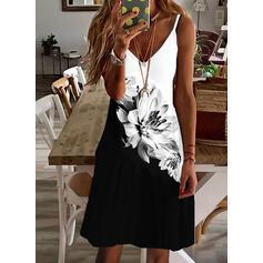 Imprimeu/Floral/Renkli klişe Kolsuz Shift Elbiseleri Deasupra Genunchiului gündelik/Tatil Gecelik Elbiseler