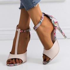 Bayanlar suni deri Topuklu ayakkabı Sandalet Pompalar Peep Toe topuk Ile Toka ayakkabı