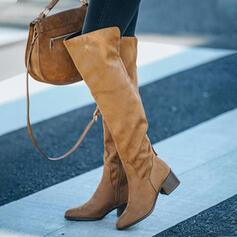 Pentru Femei Piele de Căprioară Toc gros Închis la vârf Gizme Peste Genunchi Cu vârful cu Fermoar Lace-up pantofi