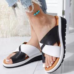 Mulheres PU Plataforma Sandálias Chinelos com Oca-out Colorblock Cruzado sapatos