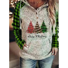 Print Grid Figure Pockets Long Sleeves Christmas Sweatshirt