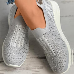 Women's Cloth Mesh Flat Heel Flats With Rhinestone Splice Color shoes