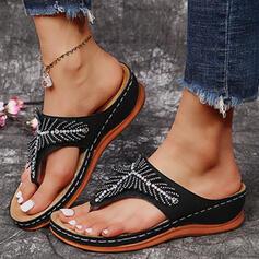 Mulheres PU Plataforma Sandálias Chinelos Chinelos com Strass Cor sólida sapatos