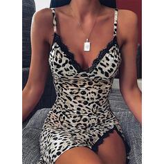 кружевной/леопард безрукавный Bodycon Выше колена сексуальный/Вечеринка слип Платья