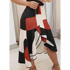 Nadruk geometryczny Bez rękawów W kształcie litery A Okrycie/Łyżwiaż Elegancki Midi Sukienki