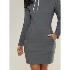 Solid Long Sleeves Bodycon Above Knee Little Black/Casual Sweatshirt Dresses
