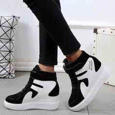 Mulheres Couro Plataforma Fechados Botas Topo alto Toe rodada com Aplicação de renda Velcro sapatos